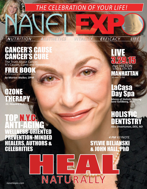 """Navel Expo cover featuring Sylvie Beljanski author of """"Winning the war on Cancer"""""""